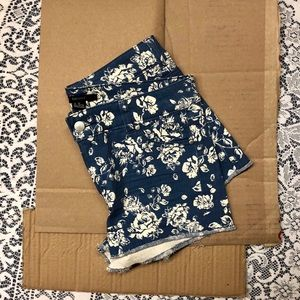 Floral Print Denim Shorts
